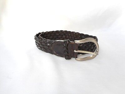 HANDMADE IN USA Black Genuine  Leather Woven Belt Size 30
