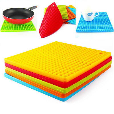 Kitchen Table Pad Honeycomb Silicone Pot Holder Trivet Mat Heat Resistant Proper