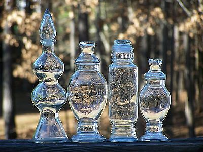 Antique/Vintage Lot/4 Clear Glass Drugstore Counter Apothecary Jars Candy Buffet