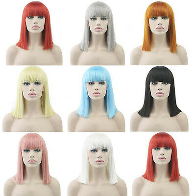 Women Synthetic Anime Wig Straight Hair Full Wig 14inch Medium for Cosplay Party