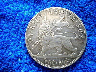 Ethiopia: Very Rare Silver 1/2 Birr 1889 Right Leg Raised About Extremely Fine!!