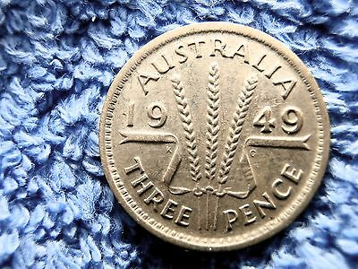 Australia: Scarce  Silver 3 Pence 1949-M  Extremely Fine!!