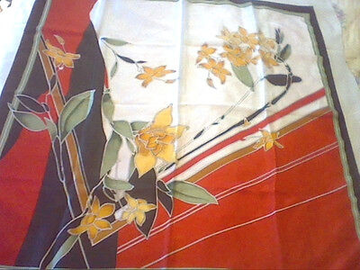 Vintage large silk scarf white red black green yellow daffodil design