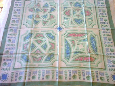 Vintage large silk scarf white green blue pink abstract topiary design