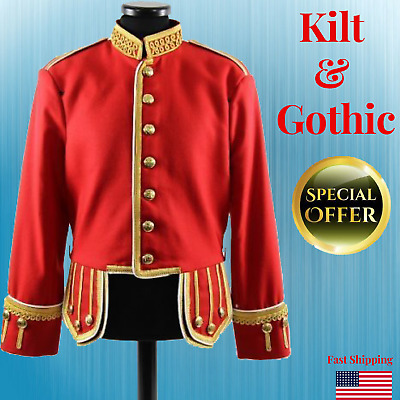 PipeDrum Doublet Jacket Wool Red Mens Suit Jacket Military Band Members Gold