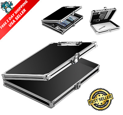 Vaultz Locking Storage Aluminum Clipboard Hard Black Solid Briefcase Paper Case