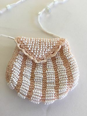 TINY Hand Beaded Coin Purse, Delicate, Beautiful With Beaded Chain