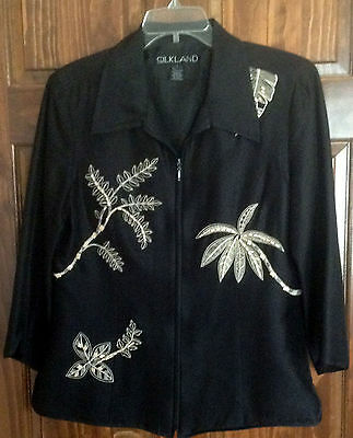 Silkland Black Palm Leaf Sz Large Jacket - compelety lined pristine conditon