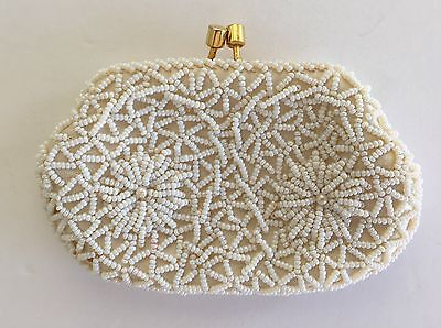 ÎHand Beaded Coin Purse, Delicate, Beautiful White On White W/gold Tone Closure