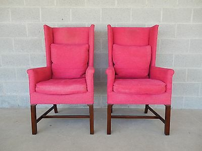 Hickory Chair Pair Chippendale Style Fire Side Wing Back Chairs