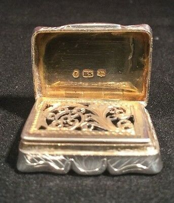 Antique Victorian Superb Edward Smith Silver Vinaigrette 1844 & Gilt Interior