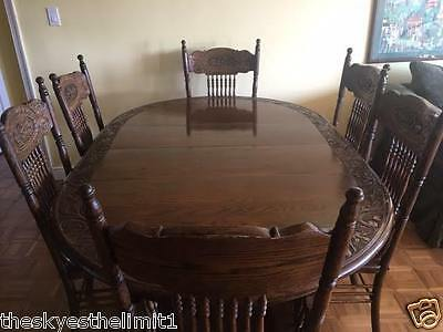 Vintage Antique Oak Extendable Dining Table 6 Chairs Quarter Sawn Claw Foot