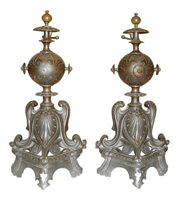 Exquisite Pair 1890's French Art Nouveau Bronze Andirons, Fireplace