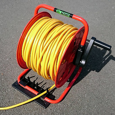 Compact Metal Hose Reel with 100m of 6mm Hose & Bracket - Window Cleaning Reel