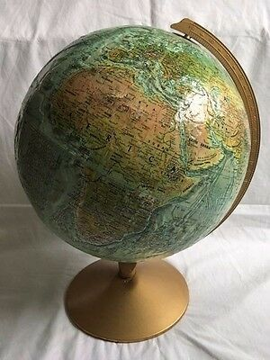 Replogle 12 Inch Diameter Globe with Stand- Excellent Cond. - Raised Topography!
