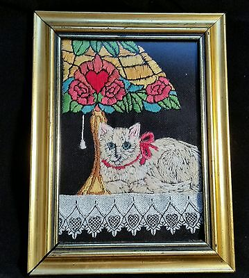 Antique Lace Crewel Stained Glass Table  Lamp Cat Needlepoint Framed Arts Crafts