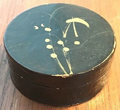 Antique Japan Paper Mache Lacquered Lidded Snuff Box