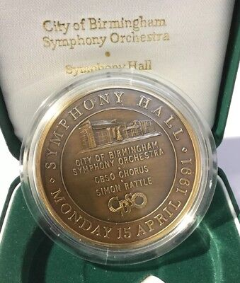 1991 Birmingham City Orchestra Cased Bronze Medallion Simon Rattle Symphony Hall