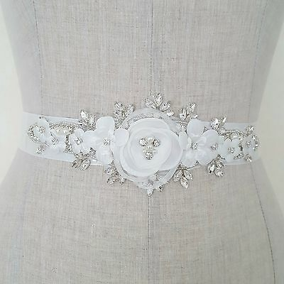 Bridal Wedding Dress Belt Bride Sash Ivory Flowers Pearl Sparkle Ribbon B120
