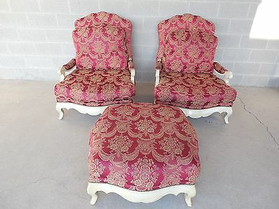 Pair French Bergere Style Arm Chairs and Matching Ottoman Henredon?