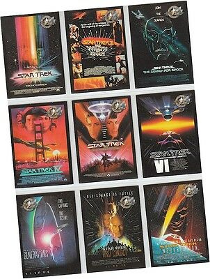 "Star Trek Cinema 2000: 9 Card ""Movie Posters"" Chase Set P1-P9 - Skybox 2000"