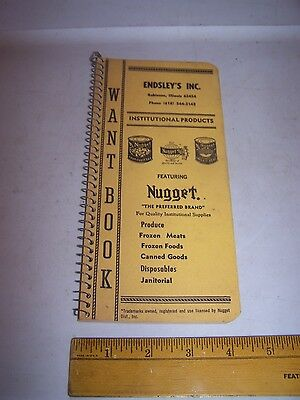 Vintage ENDSLEY'S INC ROBINSON ILLINOIS Want Book NUGGET Institutional Products