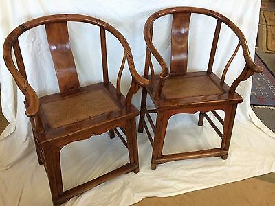 Pair Of Chinese Scholar Armchairs. Horseshoe Back.