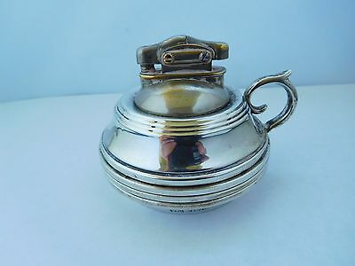 Unusual English Solid Sterling Silver Table Lighter With 3 Matching Ashtrays