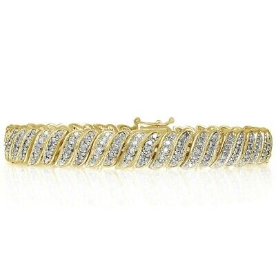 18K Gold Over Brass 1.00 Ct Tdw Natural Diamond Tennis Bracelet