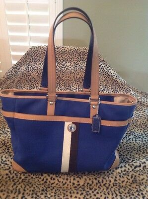 COACH Voyager F77128 Navy Blue Diaper Bag ~ Travel Tote