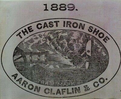 1880's Victorian Print Ad Aaron Claflin & Co Cast Iron Shoe Cannon Firing F61
