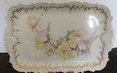 "Limoges France Yellow Roses Gold Pink Border 11 1/4"" X 8"" Vanity Pin Tray Sgnd"