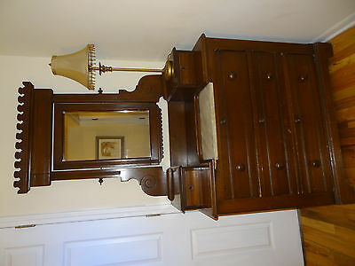 Eastlake dresser with mirror and marble inset