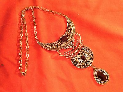 Moroccan Berber Ethnic Jewelry: Necklace Silver coloured half-moon Black NEW