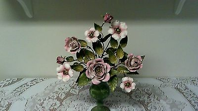Gorgeous Rare Toleware Center Piece Vase With Roses