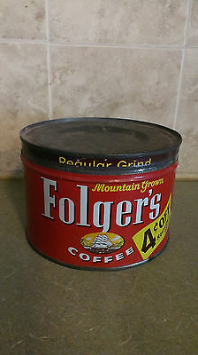 Vintage 1959 Folger's Coffee can, empty, has lid, 4 cents off and sailing ship.