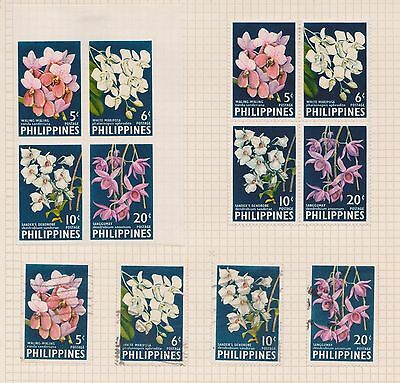 (Q20-7) 1962 Philippines mix of 12stamps orchid including imperf 4block