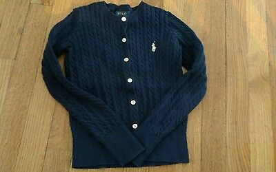 RALPH LAUREN POLO Girls Navy Size S 7 Sweater Kids Cable Cardigan Great Conditio