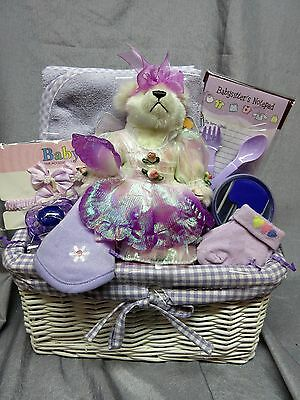 Baby Girl Lavender Gift Basket - Paci,plush Fairy Bear,socks,barreiies - New