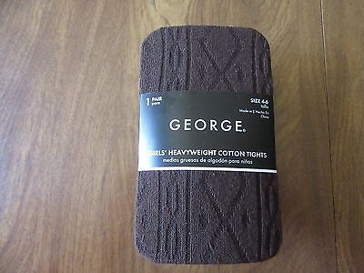 George Girls Size 4-6 Brown Heavyweight Cotton Tights NEW