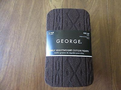 George Girls Size 7-10 Brown Heavyweight Cotton Tights NEW
