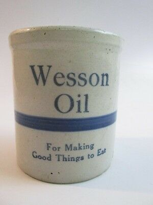Vintage Wesson Oil Stoneware Advertising Crock, Off-White & Blue, Read Desc