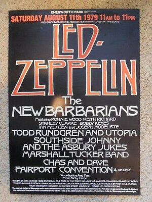 Led Zeppelin Original Concert Music Poster Knebworth Park 1979