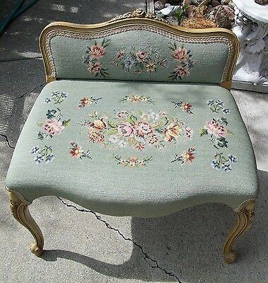 Vintage Vanity Bench Chair French Prudential Style Carved Rose Top