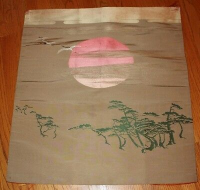 """ANTIQUE CHINESE JAPANESE ASIAN SILK EMBROIDERED PANEL SUN & CRANES - 27"""" x 24.5"""""""