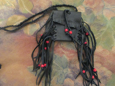 Handmade Fringed Black Leather Neck Pouch Bag Purse Braided Strap Glass Beads