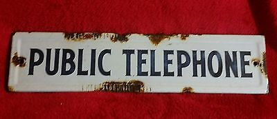 1930s PORCELAIN PUBLIC TELEPHONE GAS / SERVICE STATION SIGN WHITE RUSTY OLD RARE