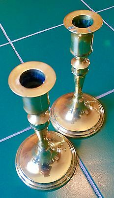 Pair Antique Solid Brass Candle Stick Holders 6 1/2""
