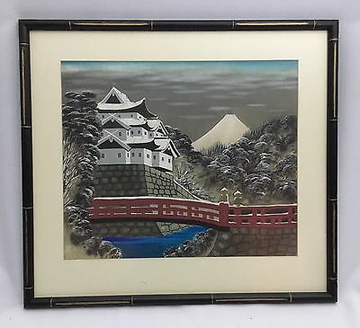 Antique Stunning Japanese Landscape Watercolor Painting of Mt. Fuji