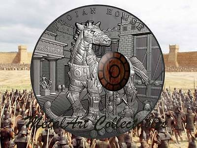 2016 Niue Trojan Horse 2 Ounce Antique Finish Silver Coin  - Wood Sheild Insert